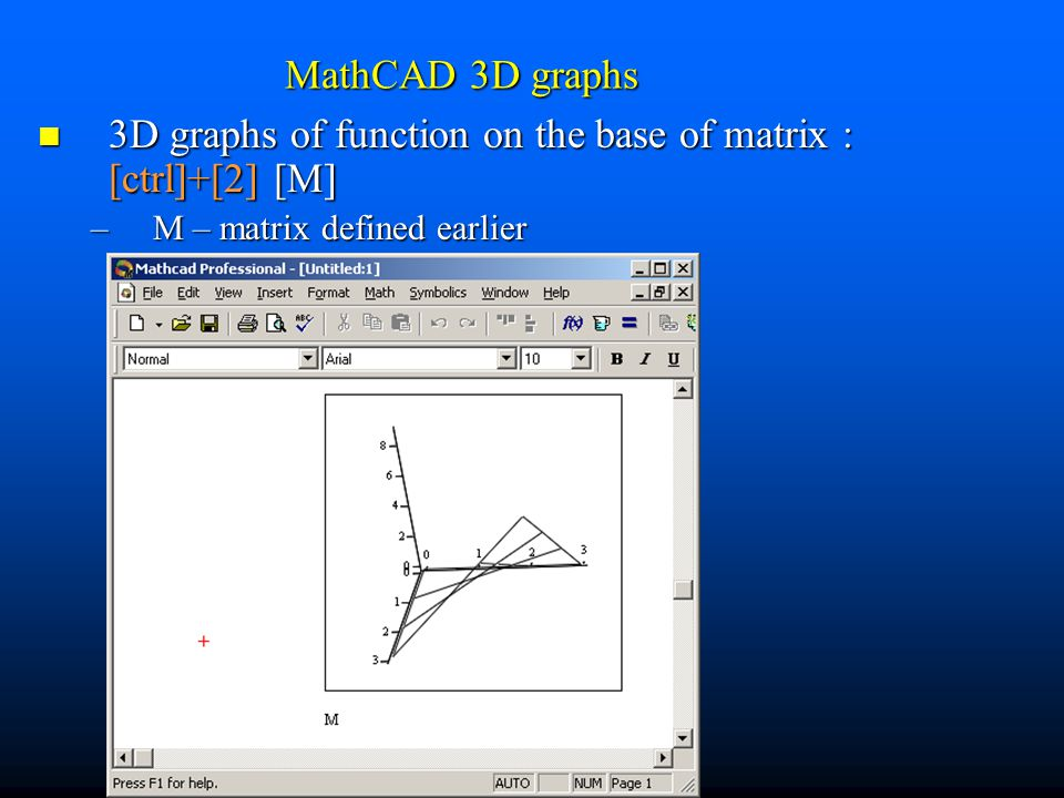 3D graphs of function on the base of matrix : [ctrl]+[2] [M]